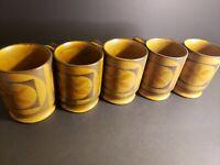 "Set of 5 Vintage Ceramic Brown Coffee Mugs Japan Flower 4"" Tall Mid Century MCM"
