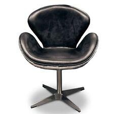 Luxus Art Deco Schreibtisch Stuhl Echtleder Schwarz  / Alu Drehstuhl Drehsessel