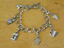 Food/Baker/Baking/Pastry Chef/Cook Silver-Tone Charm Bracelet Mixer/Cupcake+