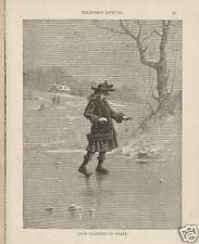 Child Learning To Ice Skate On Pond Winter 1887 Print