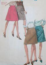 """Used+vintage 1966 simplicidad Faldas patrón de costura 6695 tamaño 34 """"w/44"""" H Poste LIBRE"""