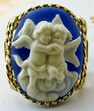 Hugging Cherub Cameo Ring 14k Rolled Gold Blue Jewelry