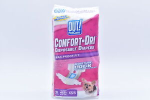 OUT Pet Care Comfort Dri Disposable Female Dog Diapers XS/S 16ct