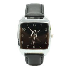 Michael Jackson Black Genuine Leather Band Square Wrist Watch