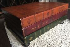 Real Leather Stacked Books Coffee Table Gold Embossed, ITALY