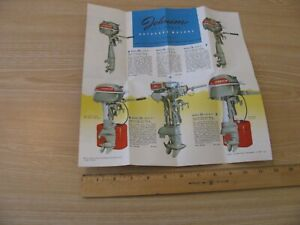 1949 JOHNSON OUTBOARD MOTOR SALES BROCHURE OPENS TO 12 X 12 INCHES FRAMEABLE