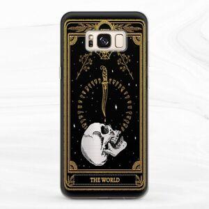 Case For Samsung S8 S9 S10 S20 Note 8 9 10 Tarot Card Occult World Black Horror