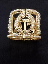Dolce & Gabbana Bracelet Gold Brass White Pearl Amore Bangle One Size