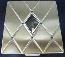 BOURJOIS Lapis Blue Beaded Vintage Powder Compact