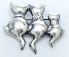 3 Musketeers Cats Kitties Sterling Silver 925 Mexico Womens Brooch Pin G872