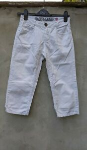 Rags Ind WHITE STRETCHY CROPPED JEANS SIZE 164. Age 13 14 SUMMER CAPRI
