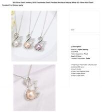 BIJOUX : B366 - Collier ARgent 925° avec Pendentif Cygne, perle rose claire