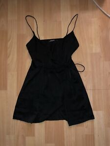 Motel Rocks Black Satin Wrap Dress Size Small 6/8/10 perfect condition