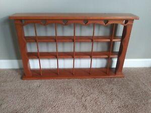 "Vintage Wood Tea Cup/Saucer Display Wall Shelf 36"" knic knac Curio Shadow Shelf"
