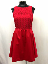 MAISON JULES Dress Back Zipper Pleated Eyelet A Line Red Size M