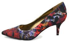 Nine West Margot Fabric Dress Pump Womens Heels Shoes,Red-Multi,6M,0539