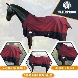Lightweight Horse Turnout Rainsheet Waterproof 600D Ripstop Red/Navy 5'6-6'9