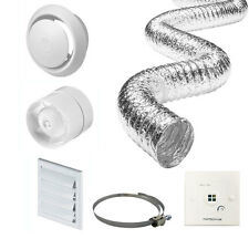 "4"" Inline Bathroom Extractor Fan Timer Full Kit Ventilation + Timer Switch"