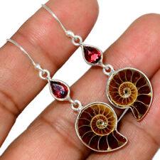 """""""Fossil"""" Ammonite - Madagascar & Garnet 925 Silver Earring Jewelry AE150850"""