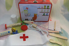 Children's Wooden Pretend Play Doctor Nurse Dress up Toy set in Tin Case! 12pcs