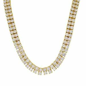 Gold Plated Simulated Diamond 8mm Wide 2 Row Tennis Chain Necklace Hip Hop Iced