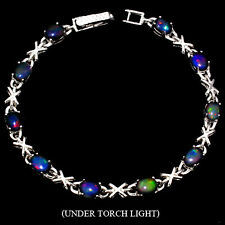 Sterling Silver 925 Natural Cabochon Black Opal & Silver Kiss Bracelet 7.5 Inch