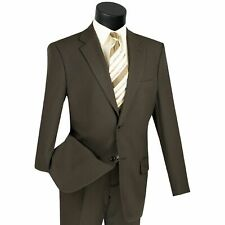 LUCCI Men's Brown 2 Button Classic Fit Poplin Polyester Suit NEW