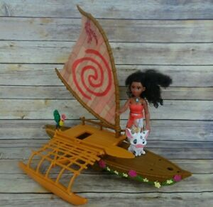 Disney Moana Starlight Canoe Projection Light Sail Boat Toy Hasbro working light