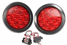 "Light-Haus (2) Red 10 LED 4"" Round Truck Trailer Brake Stop Turn Tail Lights"