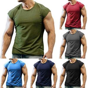 Herren Fitness Tanktop Athletic T-Shirt Unifarben Sport Muscleshirt Sommer Bluse