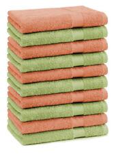 Lot de 10 serviettes débarbouillettes Premium couleur: vert pomme & orange