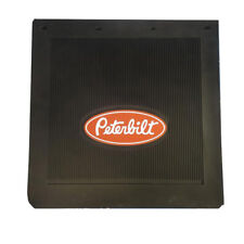 "Peterbilt Motors 24"" x 24"" x 1/4"" Thick Rubber Black Semi Truck Mud Flaps-Set"