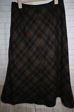 Women's VIYELLA Black & Brown Check Wool Blend A-Line Skirt - UK12 PETITE EU40