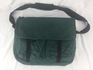 Eddie Bauer Messenger Laptop Briefcase Shoulder Bag GREEN Canvas