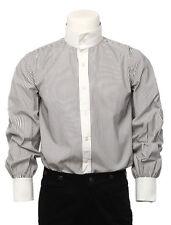 Vintage Victorian Style Gray Stripe Cotton Men's Modern Steampunk Shirts tops