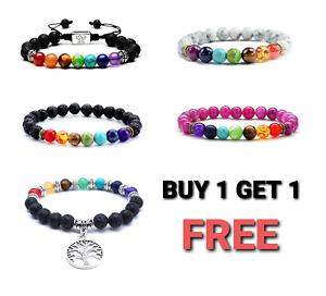 7 Chakra Bracelet Crystal Jewellery Healing Natural Stones Tree of Life Gemstone