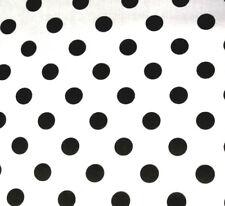"BIG BLACK DOT ON WHITE POLY COTTON FABRIC 60"" By the Yard Polka Dot Theam Decor"