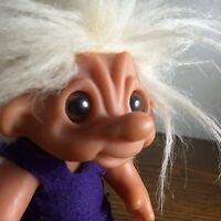Vtg Thomas Dam 1977 Troll Doll Denmark Purple Dress Crazy White Hair