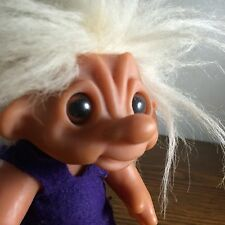 Vtg Thomas Dam 1977 Troll Doll Denmark Purple Dress Crazy White Hair