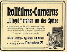 R.Hüttig & Sohn Dresden ROLLFILM-CAMERAS LLOYD Historische Annonce 1904