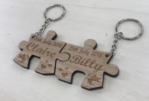 2 X Personalised Jigsaw keyring,wedding, Anniversary, Valentines Day , Puzzle