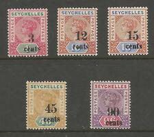 SEYCHELLES  SG15,16,18,20,& 21 QV 1893 OVERPRINTS CAT £128+