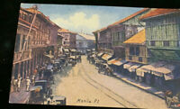 MANILA , PHILIPPINE ISLANDS c1910 POST CARD , Escolter St.Wagons , Stores