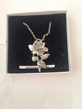 """Rose PP-G02  Emblem on Silver Platinum Plated Necklace 18"""""""