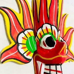 Home Decor Hand Carved Wood Wall Hang Sri Lankan Traditional Mask