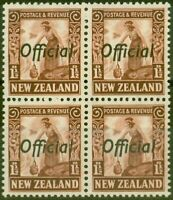 New Zealand 1936 1 1/2d Red-Brown SG0122 V.F MNH Block of 4
