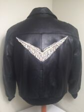 Vintage Bomber Leather Jacket Men's S ASTON MARTIN Honey Bucket Flyer Race Team