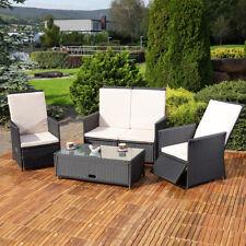 Poly Rattan Sofa Zwei Sessel Tisch Essgruppe Gartenmöbel Sitzgruppe Lounge schwarz grau