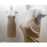 50s Vintage Slip Size M L Beige Nylon Lace Vanity Fair 60s Lingerie Rockabilly
