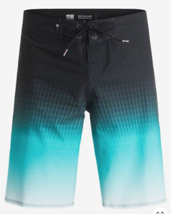"New Quiksilver Tech Vee 21"" Dryflight Boardshorts Mens 36 Navy and Aqua Shorts"
